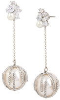 Betsey Johnson Betsey Blue Pearl Linear Ball Earrings