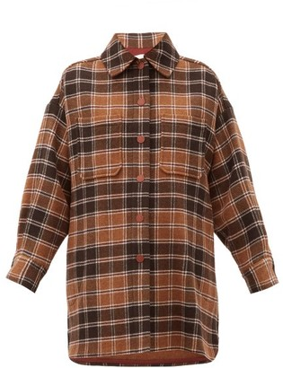 See by Chloe Checked Wool-blend Flannel Shirt Jacket - Brown Multi