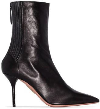 Aquazzura black saint honore 85 leather boots