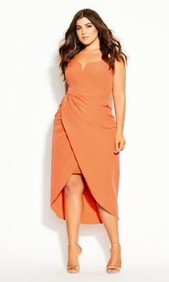 City Chic Sassy Notch Neck Dress - melon