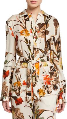 Off-White Floral Pajama Shirt