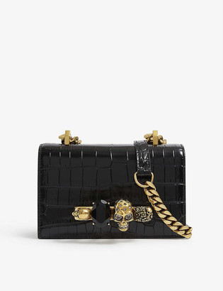 Alexander McQueen Mini skull and jewel-embellished leather satchel bag