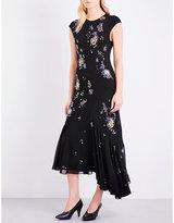 Topshop embellished silk dress