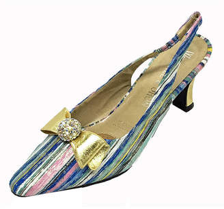 Whittall & Shon Womens Rainbow Slingback Pumps Closed Toe Cone Heel