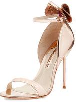Sophia Webster Maya Bow Metallic 115mm Sandal, Rose Gold