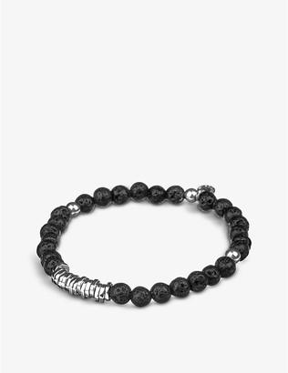 Tateossian Mens Black Silver Disc Beaded Bracelet, Size: L