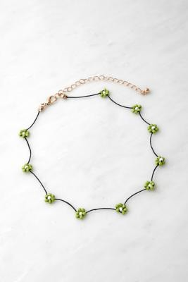 Urban Outfitters Floral Beaded Necklace - Green ALL at