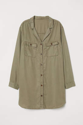 H&M Long Lyocell Denim Shirt - Green