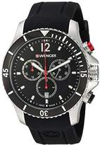 Wenger Men's 'Seaforce Chrono' Swiss Quartz Stainless Steel and Silicone Casual Watch, Color:Black (Model: 01.0643.108)