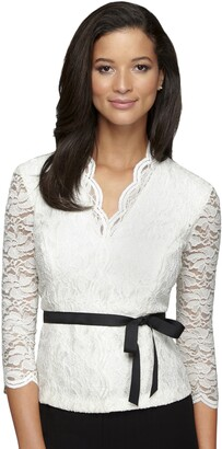 Alex Evenings Women's Embroidered Blouse with Scallop Detail