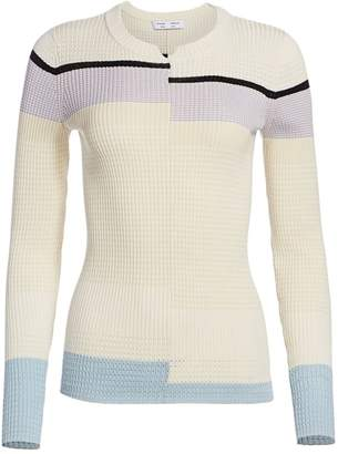 Proenza Schouler White Label Broken Stripe Ribbed Pullover