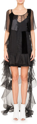 Givenchy High-Low Short-Sleeve Ruffled Chiffon Lace Cocktail Dress