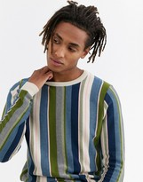 Asos Design ASOS DESIGN jumper in textured vertical stripe in oatmeal-Beige