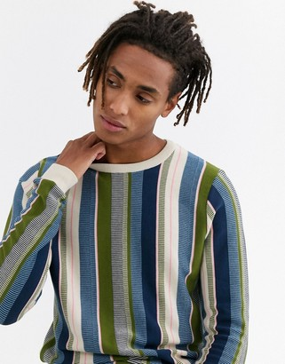 Asos Design DESIGN jumper in textured vertical stripe in oatmeal-Beige