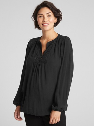 Gap Maternity Crinkle Lace-Trim Top