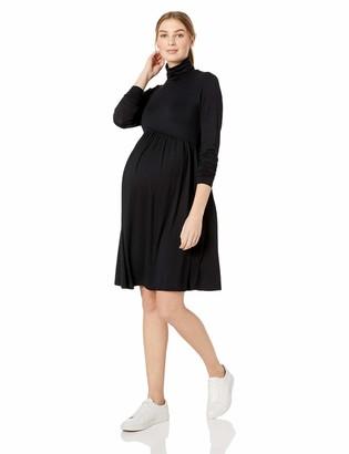 Motherhood Maternity Women's Maternity Long Sleeve Turtleneck Babydoll Dress