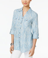 Style&Co. Style & Co Pleated Denim Shirt, Only at Macy's