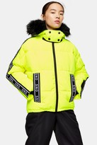 Topshop Neon Yellow Logo Ski Jacket by SNO