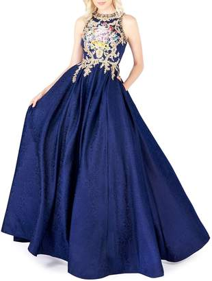 Mac Duggal Embroidered Brocade Ball Gown