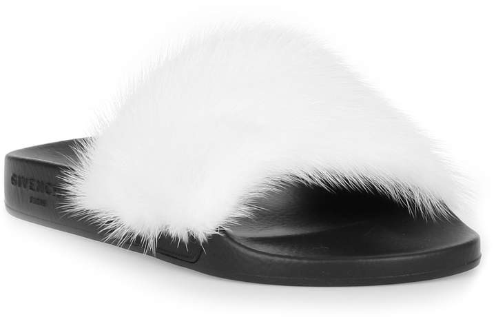Givenchy White mink slide sandal