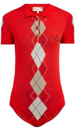 Vivienne Westwood Argyle-intarsia Cotton-blend Bodysuit - Womens - Red Multi
