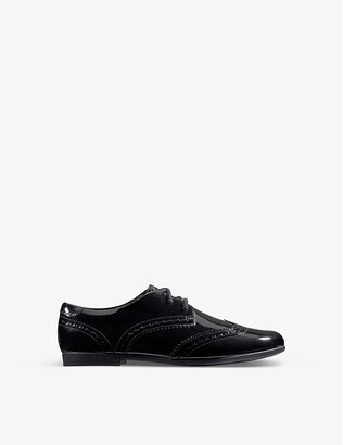 Clarks Scala Lace Kid patent-leather derby brogues 7-9 years