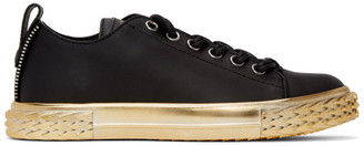 Giuseppe Zanotti Black and Gold Moxie Blabber Sneakers