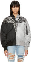 Marcelo Burlon County of Milan Black and Grey Alpha Industries Edition Talca Ma-1 Jacket