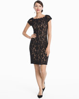 White House Black Market Cap-Sleeve Lace Sheath Dress