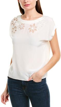 Rebecca Taylor Floral Applique Silk Top