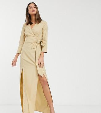 Glamorous Tall midi wrap dress in textured fabric
