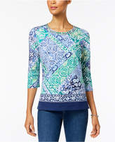 Alfred Dunner Montego Bay Printed Embellished Knit Top