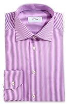 Eton Bold-Stripe Dress Shirt, Raspberry/White