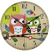 12'' Owl Wall Clock Silent Non- ticking Rustic Country Wooden Round Artwork for Kid's Room Decoration Gift