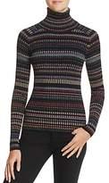 Milly Metallic-Striped Turtleneck Sweater