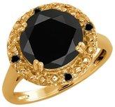 Gem Stone King 3.04 Ct Round Onyx and Diamond 14k Yellow Gold Ring