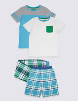 Marks and Spencer 2 Pack Pure Cotton Mixed Pyjamas (3-16 Years)