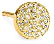Celara 14K Yellow Gold & Diamond Pave Single Stud Earring
