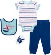 Cutie Pie Baby Blue & White Sailboat Bodysuit Set