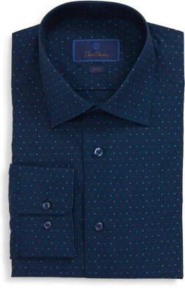 David Donahue Polka Dot Slim Fit Dress Shirt