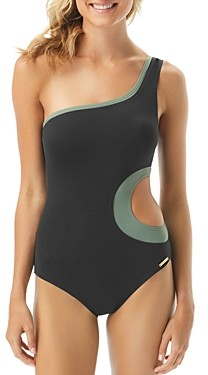 Vince Camuto Color-Blocked Layered One-Shoulder One Piece Swimsuit