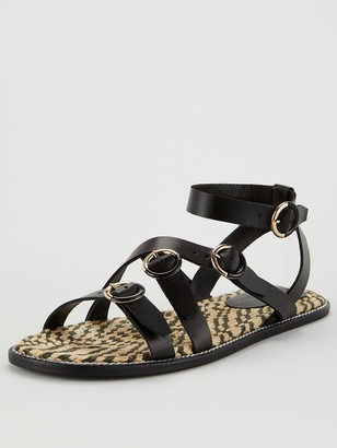 Very Henrika Leather Buckle Strap Espadrille Sandal - Black
