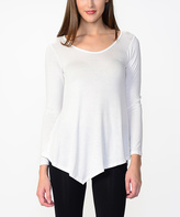 Bellino White Asymmetrical-Hem Top