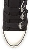 Ash Canvas Buckled Wedge Sneaker, Black