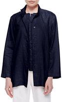 Go Silk Linen Button-Front Jacket, Petite