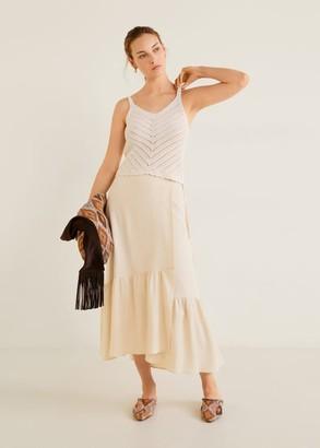 MANGO Soft fabric midi skirt beige - M - Women