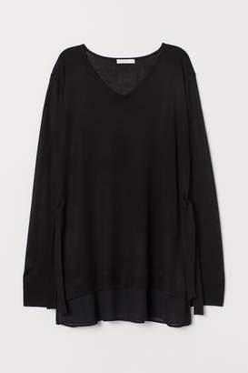 H&M MAMA Fine-knit Nursing Sweater - Black