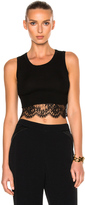 Alberta Ferretti Cotton Lace Trim Cropped Tank Top