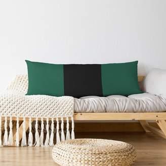 Green & Black East Urban Home New York Big Football Stripes Medium Polyester/Polyfill Body Pillow East Urban Home Color: Green/Black