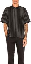 Robert Geller Over Dyed Stripe Shirt in Black,Stripes.